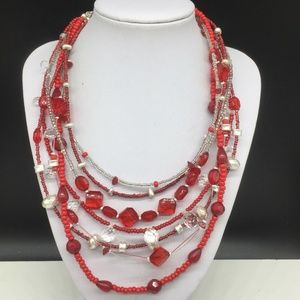 Chico's Red Clear Silver Seed Beaded Necklace